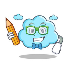 student with pencil cute cloud character cartoon vector image