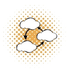 Three clouds communicating with each other icon vector