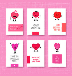 valentines day cards with cute heart characters vector image vector image
