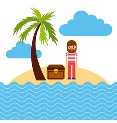 cartoon sailor standing with treasure chest in vector image