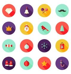 Christmas Circle Flat Icons Set 1 vector image vector image
