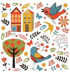 Colorful seamless pattern with birds flowers and vector image