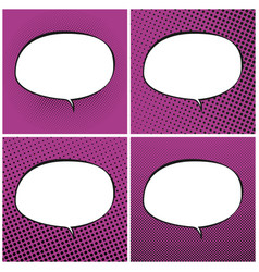 set of pink pop art retro speech bubble vector image vector image