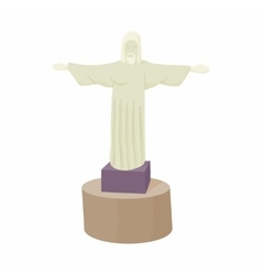 Statue of Christ Redeemer icon cartoon style vector image