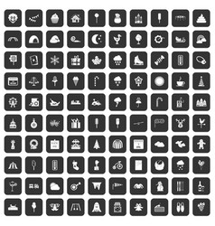 100 childrens parties icons set black vector image vector image