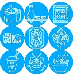 Asian food line icons vector image vector image