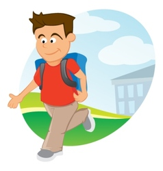 Boy with backpack vector image