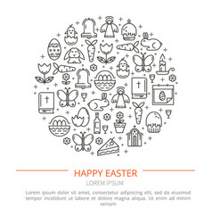 brochure with icons of easter vector image