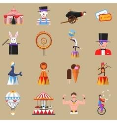 Circus retro flat icons set print vector image vector image