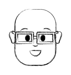 Contour happy man with bald head and glasses vector