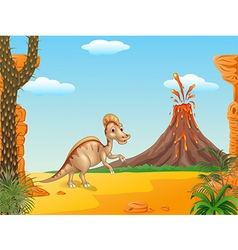 Duck billed hadrosaur in prehistoric background vector image