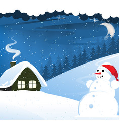 house and snowman vector image vector image
