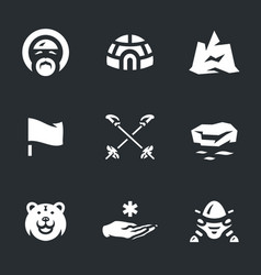 set of polar station icons vector image