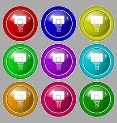 Basketball backboard icon sign symbol on nine vector
