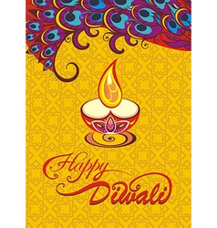 Card design for Diwali festival with lamp vector image