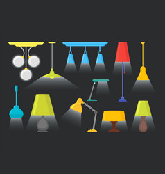 cartoon home illumination lamp color set vector image vector image