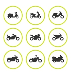 Set round icons of motorcycles vector image
