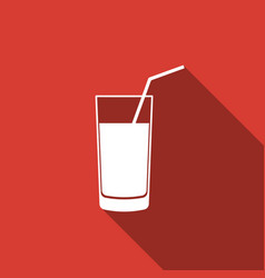 soft drink icon isolated with long shadow vector image vector image