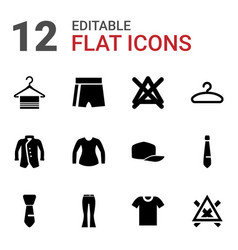 12 clothes icons vector
