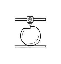 3d printer prints the ball hand drawn outline vector image