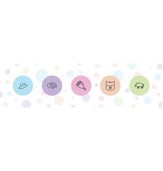 5 pork icons vector
