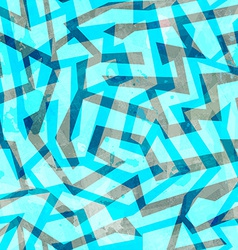 Abstract blue maze seamless texture with grunge vector