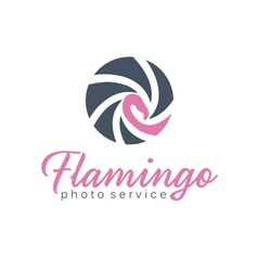 Abstract icon of shutter and flamingo vector image vector image