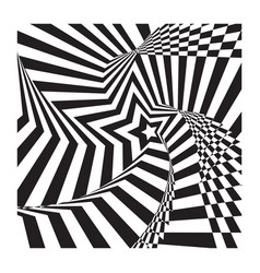 Abstract spirally star stripes optical ilusion vector