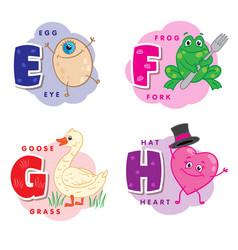 alphabet letter e f g h an egg frog goose heart vector image