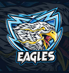 an eagle with eye fire as es-port logo vector image