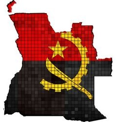 Angola map with flag inside vector