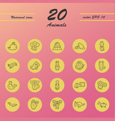 Animal icons set outline style of animal icons vector