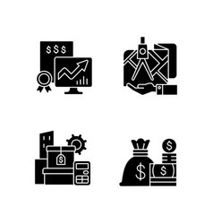 Assets management black glyph icons set on white vector