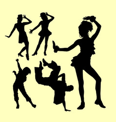 Attraction dancing show silhouette vector