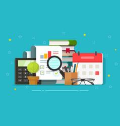 Audit research report analysing on desktop vector