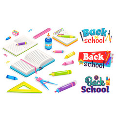 back to school with stationery book and notebook vector image