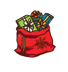 Bag full of presents vector image