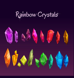 Beautiful colorful crystals set ruby emerald vector