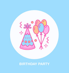 birthday party line icon logo for party vector image