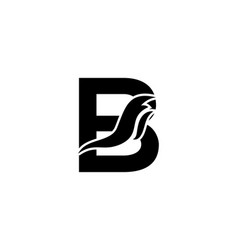 Black and white letter b logo with fire flame vector