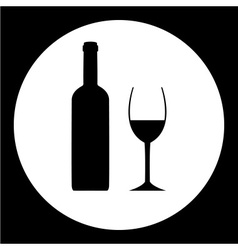 black bottle and glass of wine simple icon eps10 vector image vector image