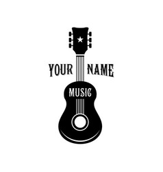 black guitar logo design vector image
