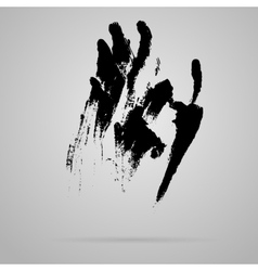 Black smeared hand imprint vector