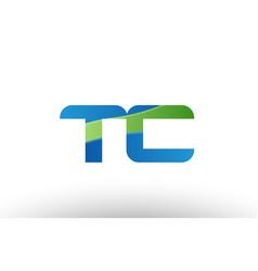 Blue green tc t c alphabet letter logo vector