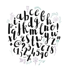 brush pen hand drawn font alphabet vector image
