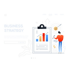 business strategy - flat design style web banner vector image