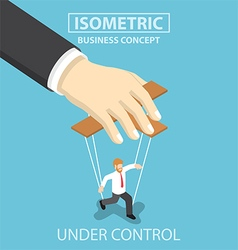 Businessman are under control like a puppet by big vector