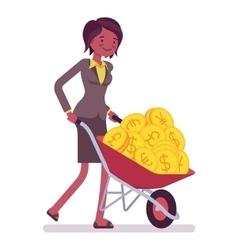 Businesswoman pushing a wheelbarrow full of golden vector image