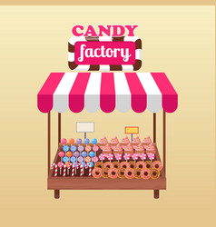 Candy factory bright stand isolated vector
