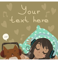 Cartoon flat Relax and Listen to the Music vector